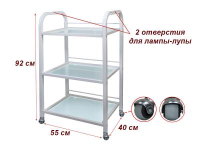 Тележка косметологическая на 3 полки модель 004 стекло