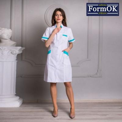 Женский медицинский халат Анна бело-мятный