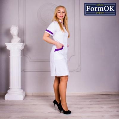 Женский медицинский халат Анна бело-фиолетовый