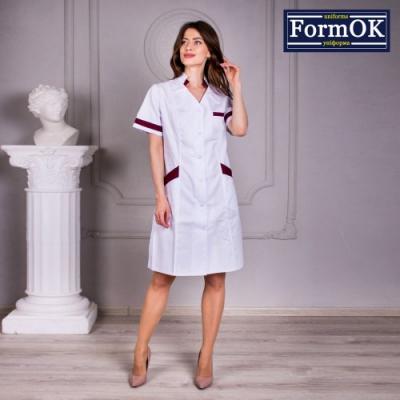 Женский медицинский халат Анна бело-бордовый