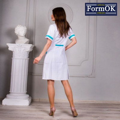 Женский медицинский халат Анна бело-голубой