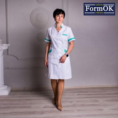 Женский медицинский халат Анна бело-салатовый