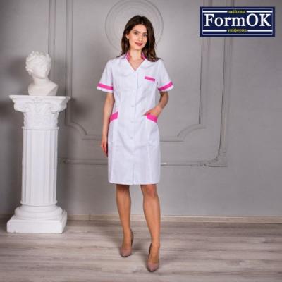 Женский медицинский халат Анна бело-розовый