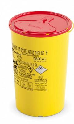 Контейнер для утилізації DISPO LINE: одноразовий круглий контейнер жовто/червоний об'ємом 4 л