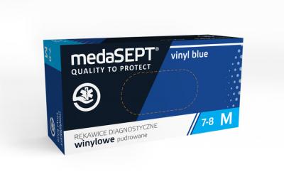 Перчатки виниловые medaSEPT vinyl blue опудренные 100шт